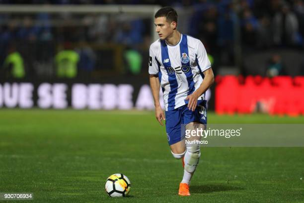 Porto's Portuguese defender Diogo Dalot in action during the Premier League 2017/18 match between Pacos Ferreira and FC Porto at Mata Real Stadium in...