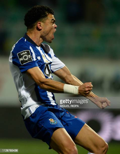 Porto's Portuguese defender Pepe celebrates after scoring a goal during the Portuguese league football match between CD Tondela and FC Porto at the...