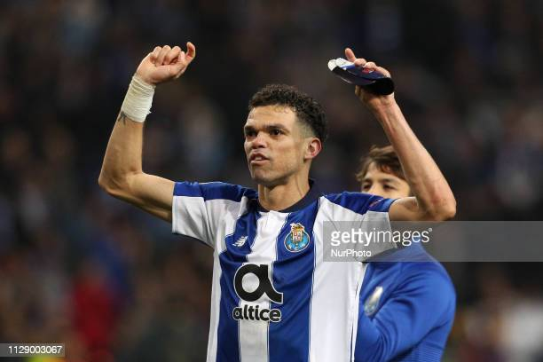 Porto's Portuguese defender Pepe celebrates the victory in the match during the UEFA Champions League match between FC Porto and AS Roma at Dragao...