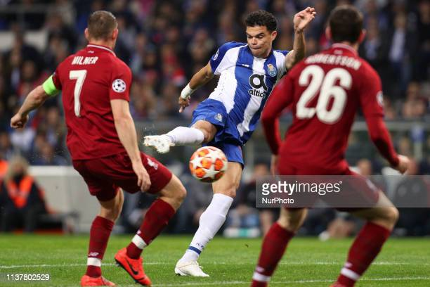 Portos Portuguese defender Pepe in action during the UEFA Champions League match between FC Porto and Liverpool at Dragao Stadium in Porto on April...