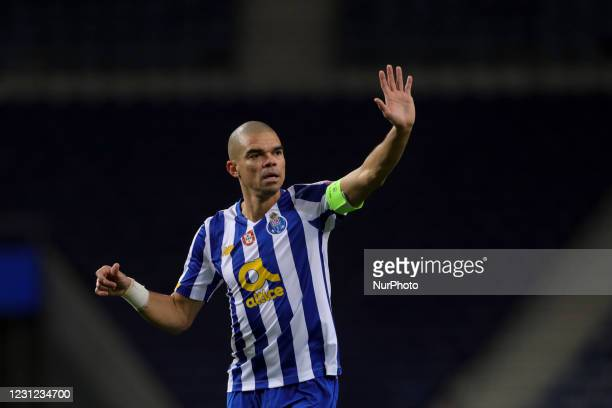 Porto's Portuguese defender Pepe reacts during the UEFA Champions League round of 16 - 1st leg match between FC Porto and Juventus FC at Dragao...