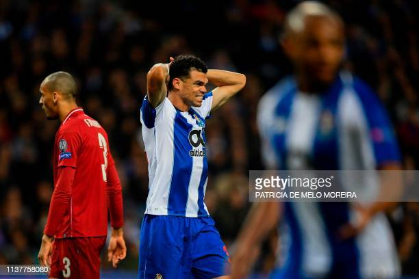 Porto's Portuguese defender Pepe reacts to missing a goal opportunity during the UEFA Champions League quarterfinal second leg football match between...