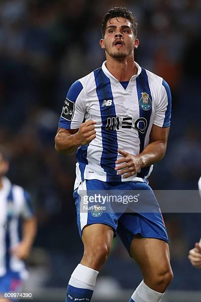 Porto's Portuguese forward Andre Silva celebrates after scoring a goal during the Premier League 2016/17 match between FC Porto and Boavista FC at...