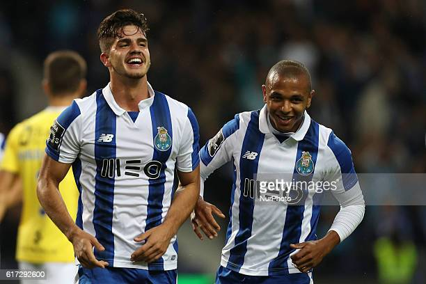 Porto's Portuguese forward Andre Silva celebrates after scoring a second goal during Premier League 2016/17 match between FC Porto and FC Arouca at...