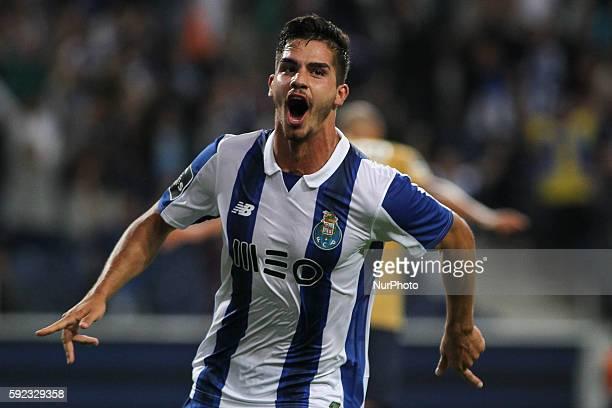 Porto's Portuguese forward Andre Silva celebrates after scoring goal during the Premier League 2016/17 match between FC Porto v Estoril at Dragao...