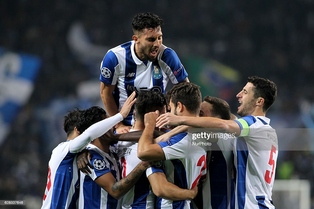 Porto's Portuguese forward Andre Silva celebrates after scoring goal with teammates during the UEFA Champions League Group G, match between FC Porto and Leicester City FC, at Dragao Stadium in Porto on December 7, 2016.