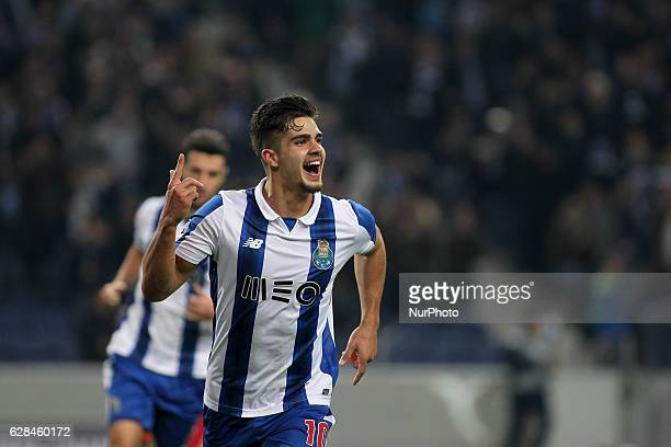 Porto's Portuguese forward Andre Silva celebrates after scoring goal during the UEFA Champions League Group G match between FC Porto and Leicester...