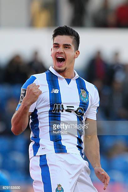 Porto's Portuguese forward Andre Silva celebrates after scoring goal during the Premier League 2016/17 match between CD Feirense and FC Porto at...