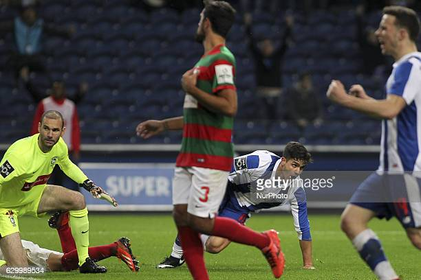 Porto's Portuguese forward Andre Silva celebrates after scoring goal during the Premier League 2016/17 match between FC Porto and CS Maritimo at...