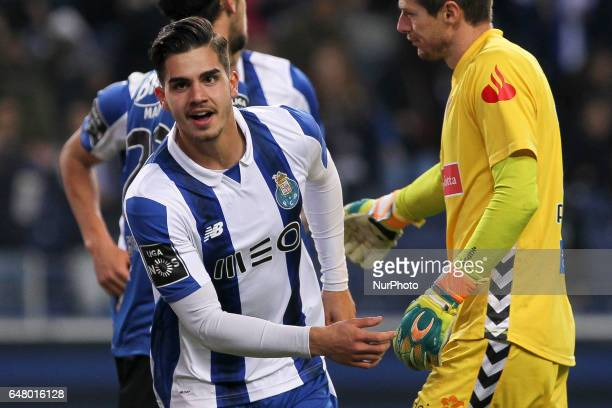 Porto's Portuguese forward Andre Silva celebrates after scoring goal during the Premier League 2016/17 match between FC Porto and CD Nacional at...