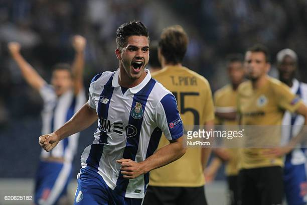 Porto's Portuguese forward Andre Silva celebrates after scoring open goal during UEFA Champions League Group G match between FC Porto and Club Brugge...