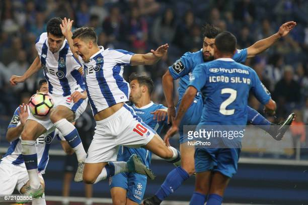 Porto's Portuguese forward Andre Silva during the Premier League 2016/17 match between FC Porto and CD Feirense at Dragao Stadium in Porto on April...