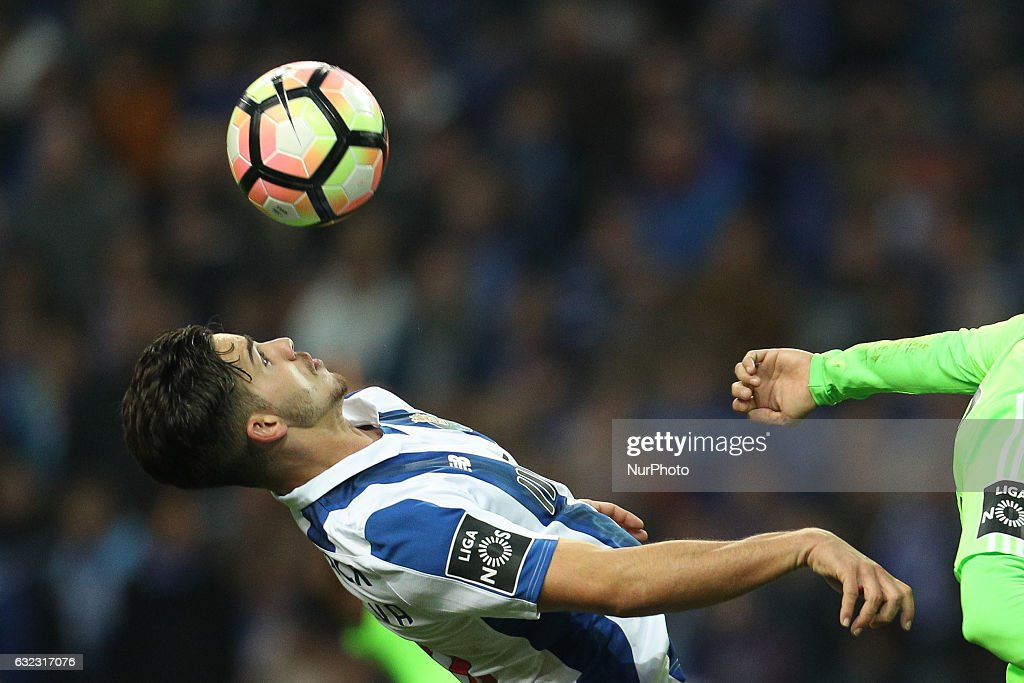 Porto's Portuguese forward Andre Silva in action during the Premier League 2016/17 match between FC Porto and Rio Ave, at Dragao Stadium in Porto on January 21, 2017.