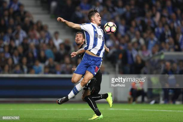 Porto's Portuguese forward Andre Silva in action during the Premier League 2016/17 match between FC Porto and Vitoria Setubal at Dragao Stadium in...