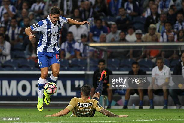 Porto's Portuguese forward Andre Silva vies during the Premier League 2016/17 match between FC Porto v Estoril at Dragao Stadium in Porto on August...