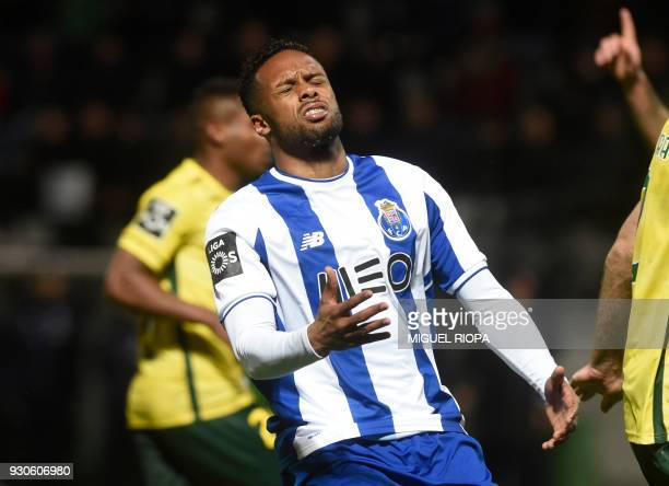 Porto's Portuguese forward Hernani gestures after missing a chance to score a goal during the Portuguese league football match between FC Pacos de...