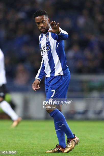 Porto's Portuguese forward Hernani reacts during the Premier League 2017/18 match between FC Porto and Vitoria SC at Dragao Stadium in Porto on...