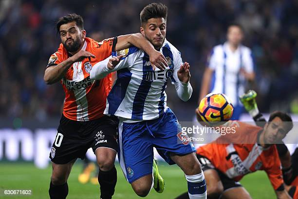 Porto's Portuguese forward Rui Pedro vies with Feirense's Portuguese midfielder Vitor Bruno during the League Cup 2016/17 match between FC Porto and...