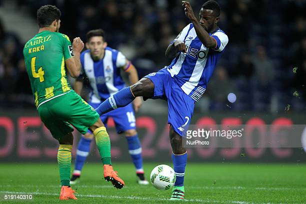 Porto's Portuguese forward Silvestre Varela vies with CD Tondela's Brazilian defender Kaká during the Premier League 2015/16 match between FC Porto...
