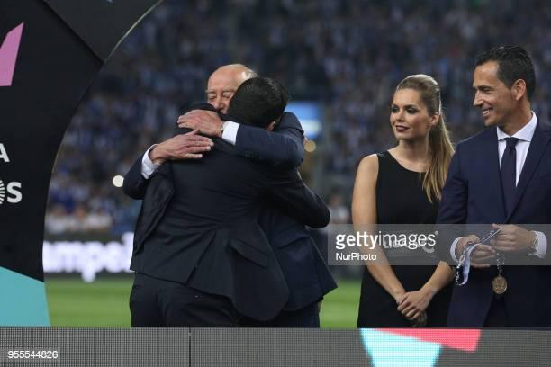 Porto's Portuguese head coach Sergio Conceicao and Porto's President Jorge Nuno Pinto da Costa celebrates the title of national champion during the...