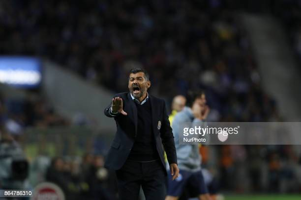 Porto's Portuguese head coach Sergio Conceicao during the Premier League 2017/18 match between FC Porto and FC Pacos de Ferreira at Dragao Stadium in...