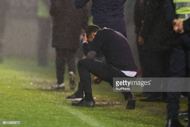Porto's Portuguese head coach Sergio Conceicao reacts after suffer the goal during the Premier League 2016/17 match between CD Feirense and FC Porto...