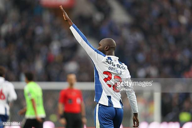 Porto's Portuguese midfielder Danilo Pereira celebrates after scoring a goal during the Premier League 2016/17 match between FC Porto and Rio Ave at...