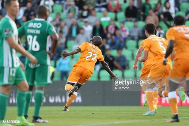 Porto's Portuguese midfielder Danilo Pereira celebrates after scoring goal during the Premier League 2017/18 match between Rio Ave FC and FC Porto at...