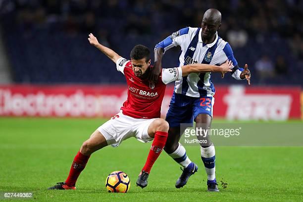 Porto's Portuguese midfielder Danilo Pereira vies with Braga's Portuguese forward Rui Fonte during the Premier League 2016/17 match between FC Porto...