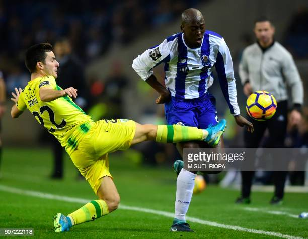 Porto's Portuguese midfielder Danilo Pereira vies with Tondela's Portuguese defender David Bruno during the Portuguese league football match between...