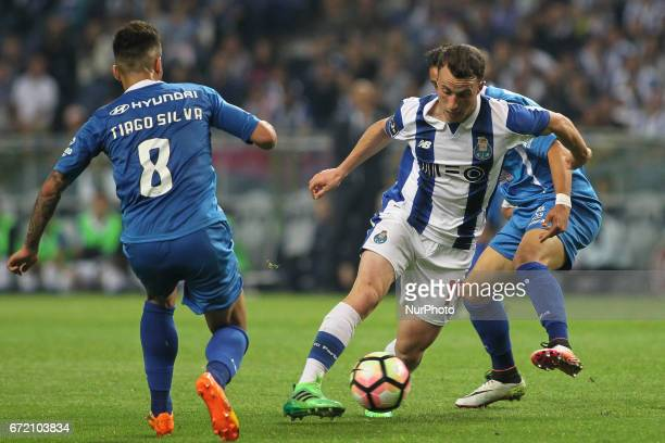 Porto's Portuguese midfielder Diogo Jota during the Premier League 2016/17 match between FC Porto and CD Feirense at Dragao Stadium in Porto on April...