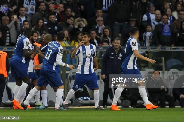 Porto's Portuguese midfielder Sergio Oliveira celebrates after scoring goal with teammates during the Premier League 2017/18 match between FC Porto v...