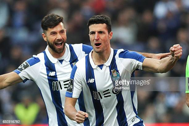 Porto's Spanish defender Ivan Marcano celebrates after scoring a goal during the Premier League 2016/17 match between FC Porto and Rio Ave at Dragao...