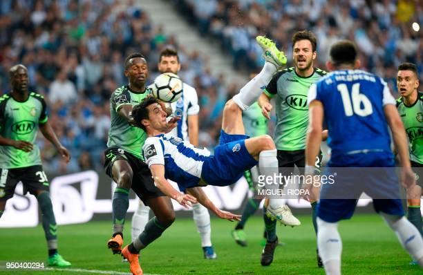 Porto's Spanish defender Ivan Marcano kicks the ball to score a goal during the Portuguese league football match between FC Porto and Vitoria Setubal...