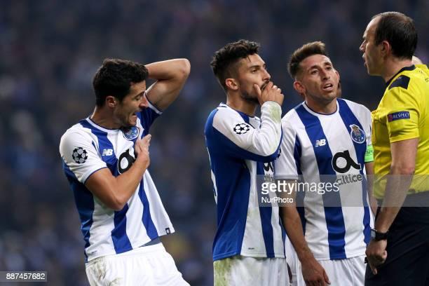 Porto's Spanish defender Ivan Marcano reacts after the referee score a penalty during the UEFA Champions League Group G match between FC Porto and AS...