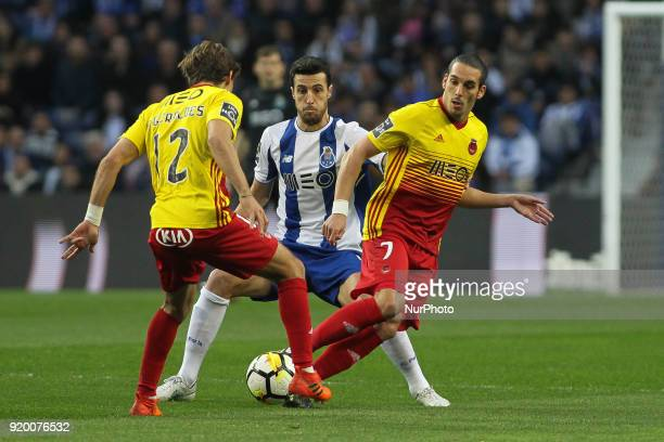 Porto's Spanish defender Ivan Marcano with Rio Ave´s Portuguese forward Guedes during the Premier League 2017/18 match between FC Porto v Rio Ave FC...