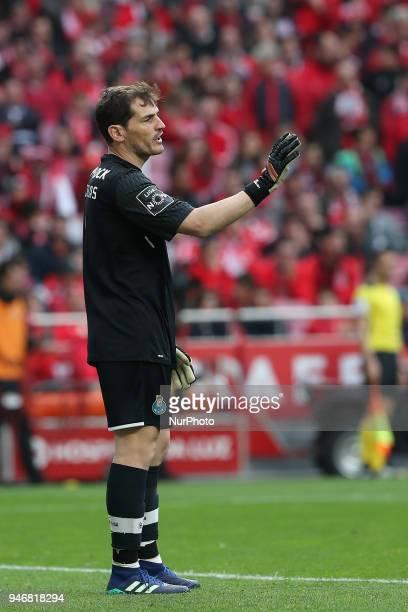 Porto's Spanish goalkeeper Iker Casillas during the Portuguese League football match SL Benfica vs FC Porto at the Luz stadium in Lisbon on April 15...