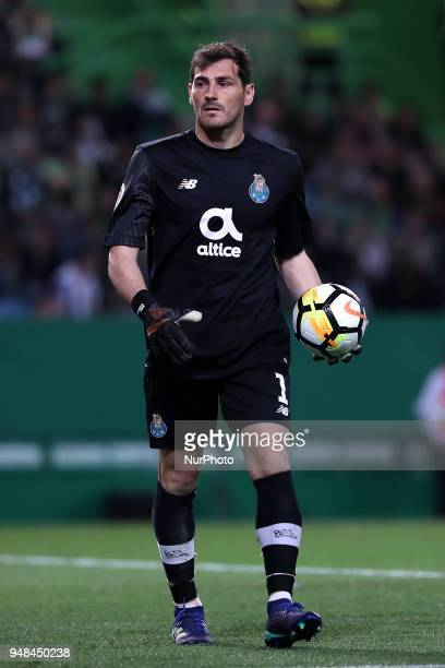 Porto's Spanish goalkeeper Iker Casillas in action during the Portugal Cup semifinal second leg football match Sporting CP vs FC Porto at the...