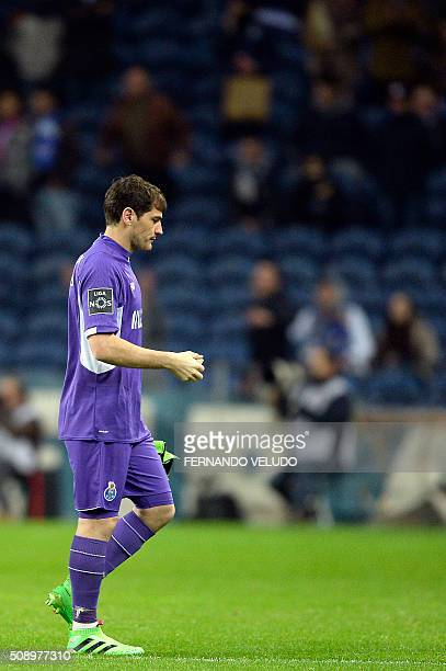 Porto's Spanish goalkeeper Iker Casillas leaves the pitch at the end of the Portuguese league football match FC Porto vs FC Arouca at the Dragao...