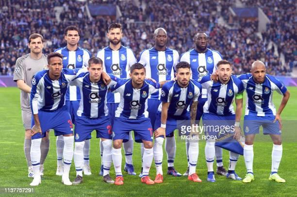 Porto's Spanish goalkeeper Iker Casillas Porto's Brazilian defender Pepe Porto's Brazilian defender Alex Telles Porto's Portuguese midfielder Danilo...