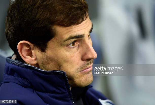 Porto's Spanish goalkeeper Iker Casillas sits on the bench before the start of the Portuguese league football match between FC Porto and CD Tondela...
