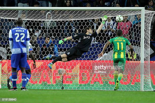 Porto's Spanish goalkeeper Iker Casillas suffer a goal during the Premier League 2015/16 match between FC Porto and CD Tondela at Dragão Stadium in...