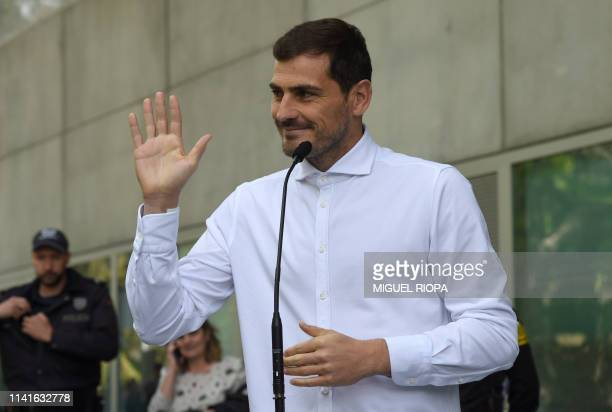 Porto's Spanish goalkeeper Iker Casillas waves after leaving a hospital in Porto on May 6 2019 after recovering from a heart attack The 37yearold...