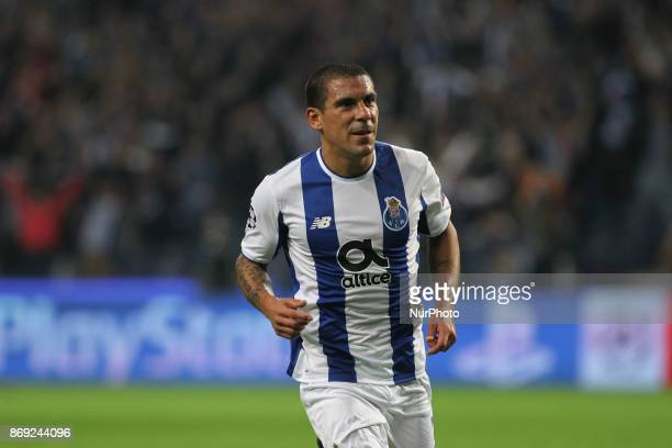 Porto's Uruguayan defender Maxi Pereira celebrates after scoring goal during the UEFA Champions League Group G match between FC Porto and Leipzig at...