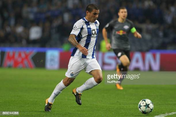 Porto's Uruguayan defender Maxi Pereira during the UEFA Champions League Group G match between FC Porto and Leipzig at Dragao Stadium on November 1...