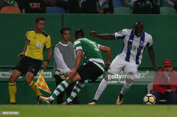 Porto'u2019s forward Moussa Marega from Mali in action during the Primeira Liga match between Sporting CP and FC Porto at Estadio Jose Alvalade on...