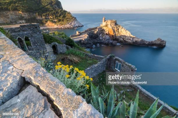 portovenere at sunrise, liguria, italy - italia ストックフォトと画像