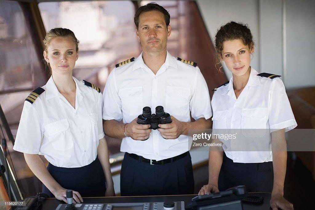 Portrai of a captain crew : Stock Photo