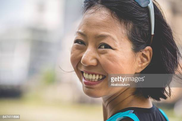 Portrai of a Smiling Japanese Woman in Kyoto, Japan
