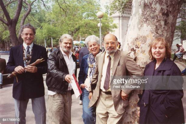 Portrairt of from left American musician composer and conductor David Amram poet Gregory Corso writer Ann Charters poet Allen Ginsberg and writer...